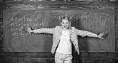 Studying Hard For Good Grades. Teacher On School Lesson At Blackboard. Back To School. Teachers Day. poster