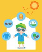 Sun Safety Tips And Boy Kid Illustration. Uv Protection Products,hat,glasses,shade,sunscreen,and Clo poster