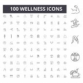 Wellness Line Icons, Signs, Vector Set, Outline Illustration Concept poster