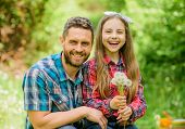 Little Girl And Happy Man Dad. Earth Day. Family Summer Farm. Spring Village Country. Daughter And D poster