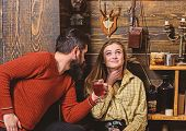 Girl And Man On Smiling Faces Enjoy Cozy Atmosphere With Hot Drinks. Couple Spend Pleasant Evening,  poster