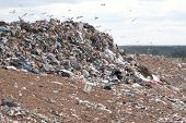 stock photo of landfill  - Garbage at a rubbish dump in a landfill site with a greenresidential backdrop - JPG