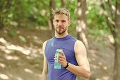 Man Athlete Hold Bottle Care Hydration Body After Workout. Refreshing Vitamin Drink After Great Work poster