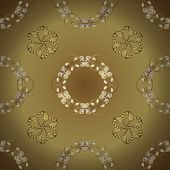 Traditional Orient Ornament. Classic Vintage Background. Seamless Classic Vector Yellow And Beige An poster