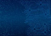 High-tech Technology Blue Background Texture. Circuit Board Minimal Pattern. Science Vector Illustra poster