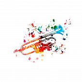 Colorful Trumpet With Music Notes Isolated Vector Illustration Design. Music Background. Music Instr poster