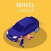 Isometric Banner Wheel Change Service In Garage. Skilled Master Replaces Brake Shoes On Sedan Car St poster