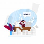 Vector Illustration Busy Rhythm Life Cartoon Flat. Man Asks For Help Unloading Work Tasks. Lack Time poster