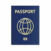 Blue Passport. International Identification Document For Travel. Vector Image About Identification,  poster