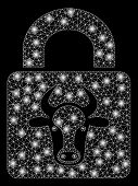Bright Mesh Bull Lock With Glare Effect. Abstract Illuminated Model Of Bull Lock Icon. Shiny Wire Ca poster