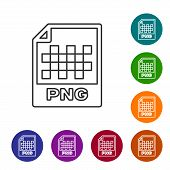 Grey Png File Document Icon. Download Png Button Line Icon Isolated On White Background. Png File Sy poster