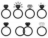 Diamond Engagement Ring On White Background. Diamond Ring Icon For Your Web Site Design, Logo, App,  poster