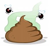 stock photo of pooping  - Stinky Pile Of Poop With Two Flies Cartoon Character - JPG