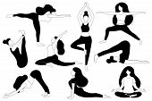 Women Do Yoga. Different Asanas. Poses - Lotus, Tree Pose, Downward Facing Dog Pose, Cobra. Black An poster
