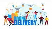 Drone Air Delivery. Cartoon People Recieve Cardboard Box Vector Illustration. Internet Shopping, Onl poster