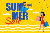 Summer Sales Promotional Flat Banner For Best Vacation. Vector Cartoon Man Announcing In Megaphone B poster