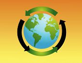 stock photo of world-globe  - World globe vector illustration with recycle sign - JPG