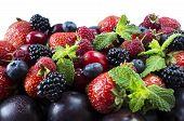 Ripe Strawberries, Blackberries, Blueberries, Raspberries, Red Berries Abd Plum. Mix Berries And Fru poster