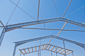 Structure Of Steel For Building Construction. The Steel Structure Of The New Building For Further Co poster