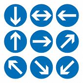 Set Of Direction Signs. Blue Circle Mandatory Informational Symbols.  Illustration Isolated On White poster