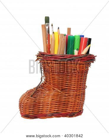 Pencil Holder Isolated On White