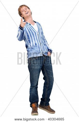 Handsome Male Model Pointing His Finger At You