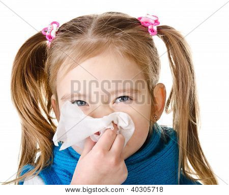 Little Girl Blowing Her Nose In A Great Effort Closeup Isolated