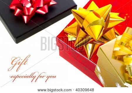 Christmas gift boxes with sample text over white background