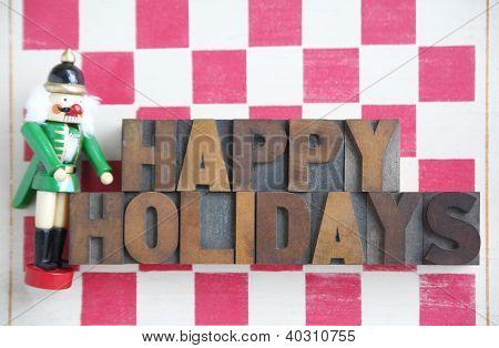 nutcracker checkerboard happy holidays