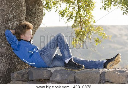 Teenager Rest At Nature