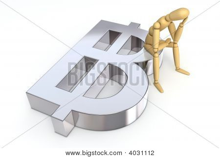 Lay Figure Sitting On Baht Symbol