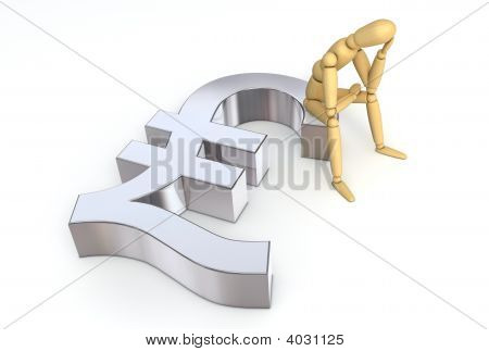 Lay Figure Sitting On Lira Symbol