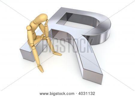 Lay Figure Sitting On Rand Symbol