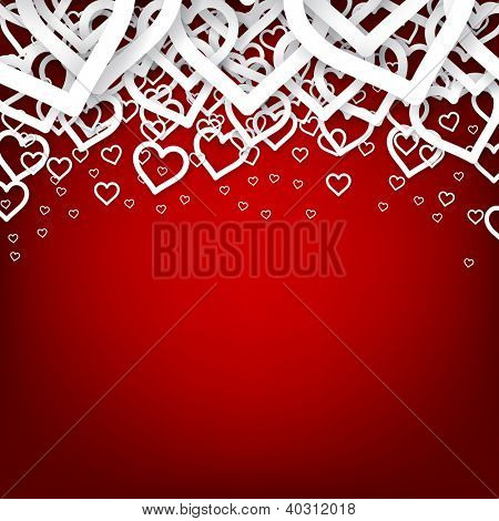 Vector Illustration of red valentine heart background. Eps10.