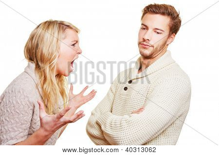Angry woman screaming at man in a discussion