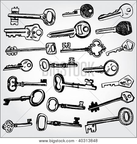Collection of Keys Hand Drawn