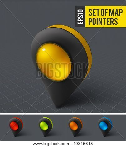 Black map pointer icon. Vector
