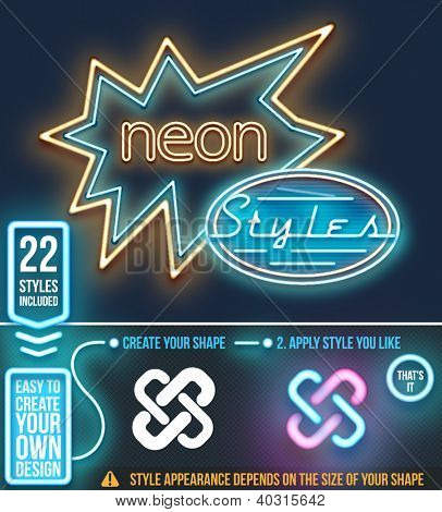 Neon graphic styles. Vector