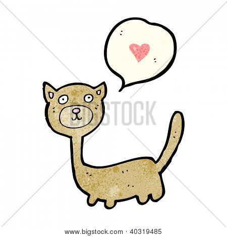 cartoon cat with love heart