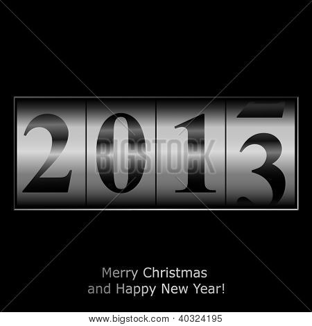 New Year counter in silver design. Raster copy of vector illustration