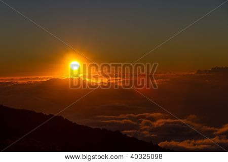 Sunset Above The Clouds At Haleakala National Park