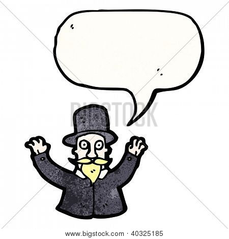 cartoon magician with speech bubble