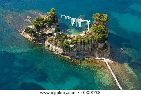Aerial view on the Cameo island of Zakynthos Greece