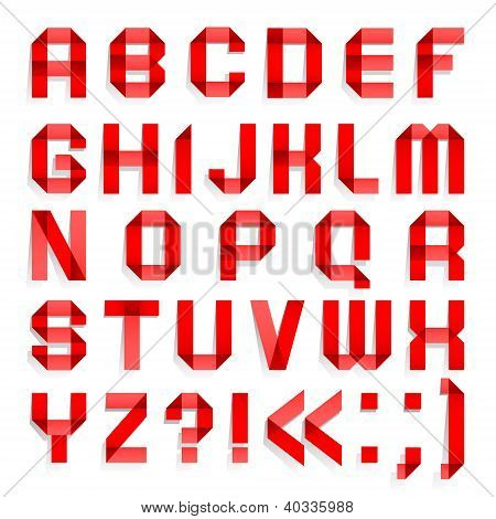 Alphabet folded of colored paper - Red letters