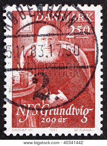 Postage stamp Denmark 1983 N. F. S. Grundtvig, poet
