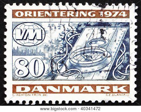 Postage stamp Denmark 1974 Compass, Orienteering