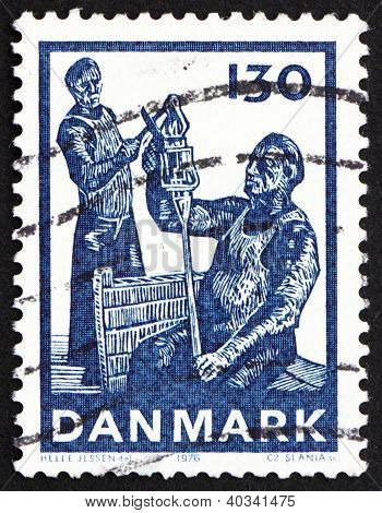 Postage stamp Denmark 1976 Glass Cut off from Foot