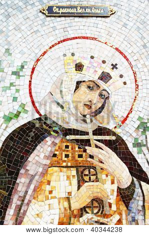 Mosaic Of Saint Princess Olga. Saint Princess Olga - First Known Female Ruler Of Country