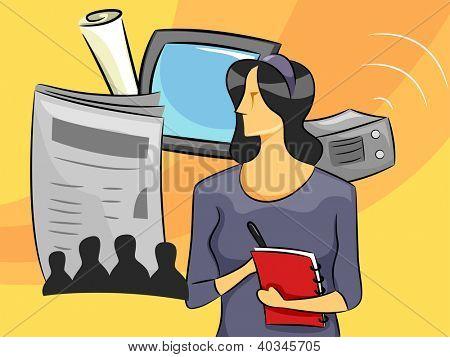 Ilustração dos desenhos animados de uma jornalista