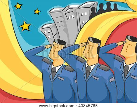 Illustration of Military Officers Doing a Hand Salute